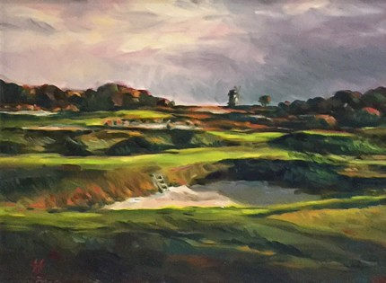 """National Links, Long Island"" Oil on canvas, 9 x 12 inches, 17 x 20 inches, Signed lower right"