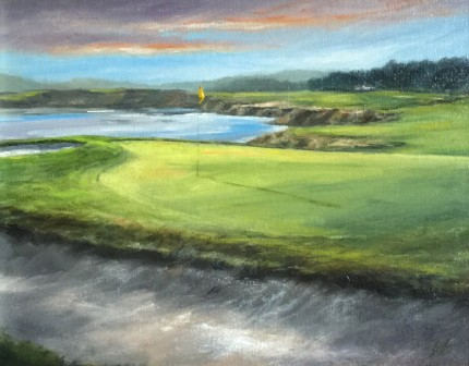 """Pebble Beach #10"" Oil on canvas, 11 x 14 inches, 20 x 23 inches, Signed lower right"