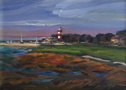"""Safe Harbor, Harbor Town, Hilton Head, SC"" Oil on canvas, 8.5 x 11 inches, 14 x 17 inches, Signed lower left"