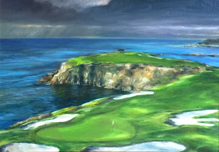 """Storm Pebble Beach #8"" Oil on canvas, 12 x 16 inches, 20 x 24 inches, Signed lower right"