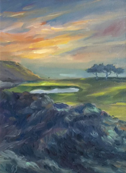 """Torrey Pines South, San Diego"" Oil on canvas, 12 x 9 inches, 20 x 17 inches, Signed lower left"
