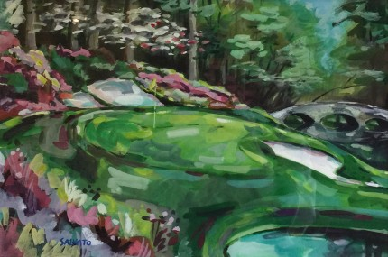 """Augusta National #12"" Watercolour on paper, 12 x 18 inches, 20 x 26 inches, Signed lower left"