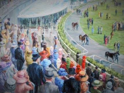 """Ascot, New Paddock"" Oil on canvas, 30 x 40 inches, Signed"