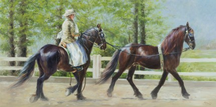 """Friesian Beauties"" Oil on canvas, 18 x 36 inches, Signed"