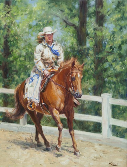 """Joyful Ride"" Oil on canvas, 25 x 19 inches, Signed"