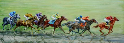 """The Last Furlong"" Oil on canvas, 16 x 44 inches, Signed"