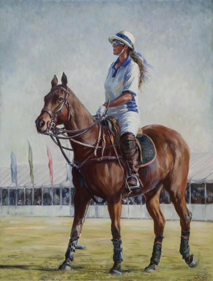 """The Queen of Polo"" Oil on canvas, 25 x 19 inches, Signed"
