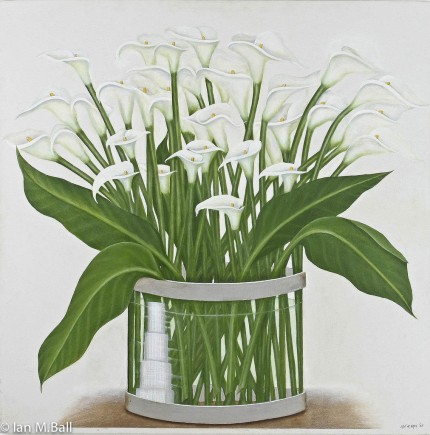 """Calla Lillies Downtown"" Oil on canvas, 40 x 40 inches, Signed"