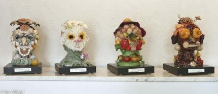 """The Four Seasons"" A Series of four heads with mixed media, with Lucite covers, 17 x 10 x 12 inches each, Sold only as a set"