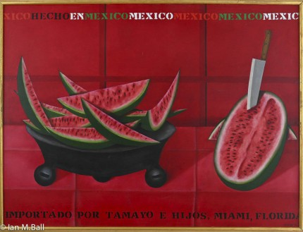"""The Watermelons Have Arrived"" Oil on canvas, 38 x 50 inches, Signed"