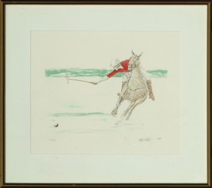 """""""Red Jersey Polo Player"""" c. 1980, Hand-coloured print, Limited edition 25/50, 9 x 11 inches, Signed & Numbered lower right"""