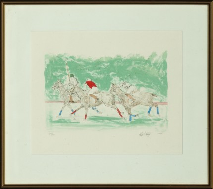 """""""Three Polo Players"""" Hand-coloured print, Limited edition 25/50, 9 x 11 inches, Signed & Numbered lower right"""