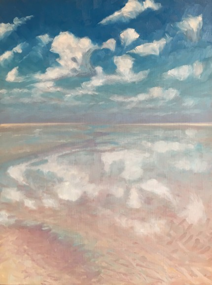 """Cloudy Reflections III"" Oil on canvas, 12 x 16 inches, Signed"