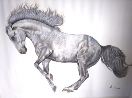 """""""Andalusian Horse"""" Oil on canvas, 31 x 44 inches, Signed"""
