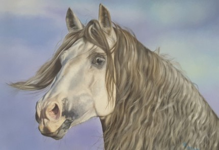"""""""Spain Horse"""" Oil on canvas, 31 x 44 inches, Signed"""