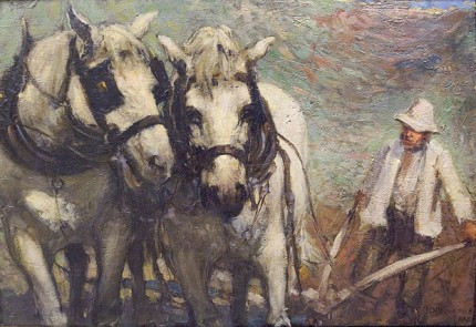 """""""The Ploughing Team"""" Oil on panel, 9.5 x 14 inches, 18 x 22 inches, Signed lower right"""