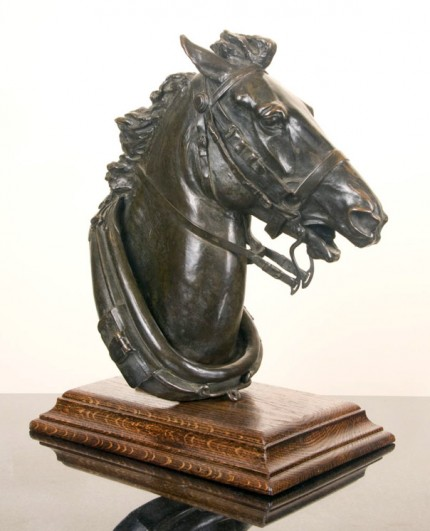 """""""Head of Runaway Horse"""" ca. 1908, Bronze, 16 x 15 x 8 inches, Signed"""