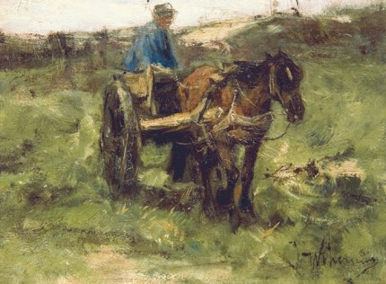 """""""Figure with a Cart"""" Oil on panel, 6.25 x 8 inches, 11 x 13 inches, Signed lower right"""