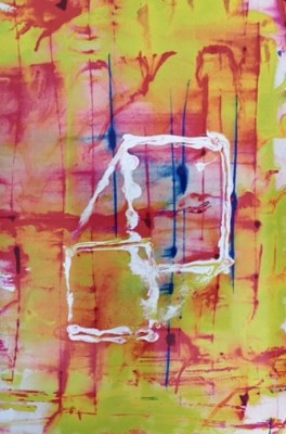 """""""Floating Box in Time"""" Archival vegetable pigment on archival paper, Mounted on anodized aluminum, 6 x 4 feet"""