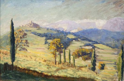 """A Distant View of Eze"" c. 1930, Oil on canvas, 20 x 30 inches"