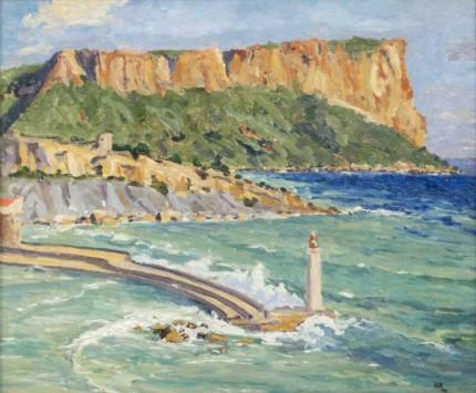 """Coast Scene Near Marseilles"" c. 1935, Oil on canvas, 25 x 30 inches"