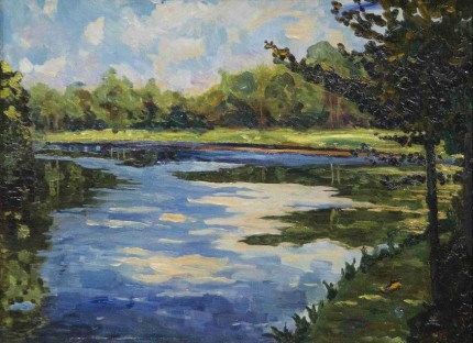"""Lake Near Breccles in Autumn"" c. 1930, Oil on canvas, 22 x 29 inches"