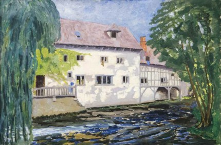 """The Mill at St. Georges-Motel"" c. 1930, Oil on board, 24 x 36 inches"