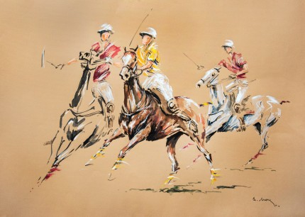 """Three Players, 6th Chukker"" Acrylic & Ink on paper, 20 x 28 inches, Signed lower right"