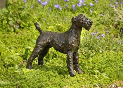 """Bob"" Airedale Terrier, Bronze resin, 11 x 12 x 4 inches"