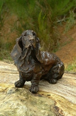 """Pluto"" Basset Hound, Bronze resin, 15 x 13 x 10 inches"