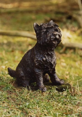 """Suzie"" Cairn Terrier, Bronze resin, 12 x 10 x 6 inches"