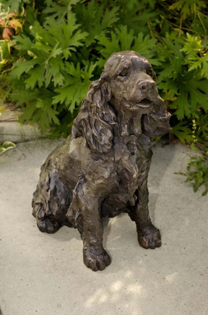 """Bonny"" Cocker Spaniel, Bronze resin, 12 x 10 x 6 inches"