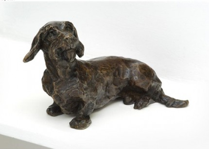 """Cyril"" Dachshund, Bronze resin, 5 x 8 x 4 inches"
