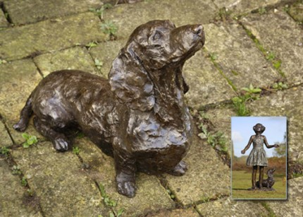 """Smartie"" Dachshund, Bronze resin, 12 x 14 x 19 inches"