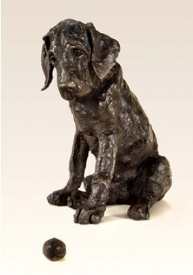 """Leopold"" Great Dane, Bronze resin, 14 x 13 x 10 inches"