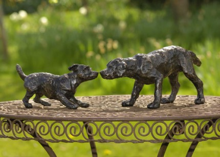"""Brief Encounter"" [""Jack Russell"", ""Labrador""], Bronze resin, 6 x 22 x 5 inches"