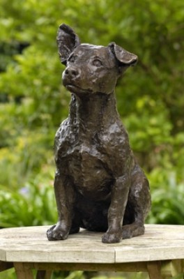 """Zipper"" Jack Russell, Bronze resin, 16 x 18 x 7 inches"