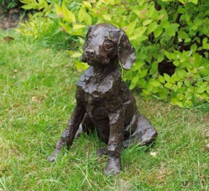 """Hettie"" Labradoodle, Bronze resin, 12 x 10 x 8 inches"