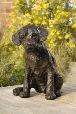 """Curiosity"" Labrador, Bronze resin, 9 x 10 x 6 inches"