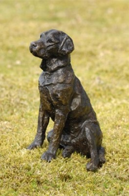 """Teal"" Labrador, Bronze resin, 8 x 5 x 6 inches"