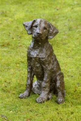 """Treacle"" Labrador, Bronze resin, 15 x 10 x 9 inches"