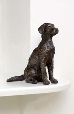 """Youngster"" Labrador, Bronze resin, 8 x 6 x 3 inches"