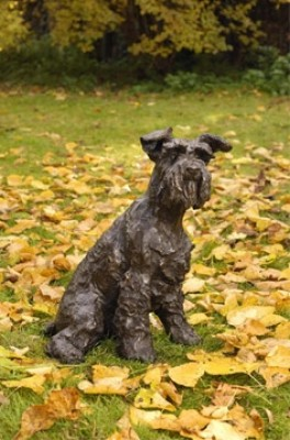 """Smudge"" Schnauzer, Bronze resin, 20 x 16 x 13 inches"