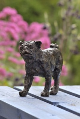 """Chelsea"" Pug, Bronze resin, 6 x 9 x 3 inches"