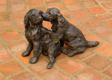 """A Quiet Word"" Springer Spaniel, Bronze resin, 12 x 18 x 8 inches"