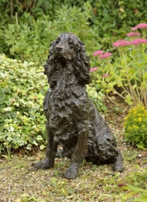 """Dash"" Springer Spaniel, Bronze resin, 28 x 14 x 18 inches"