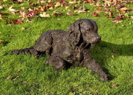 """Poppy"" Springer Spaniel, Bronze resin, 15 x 34 x 17 inches"