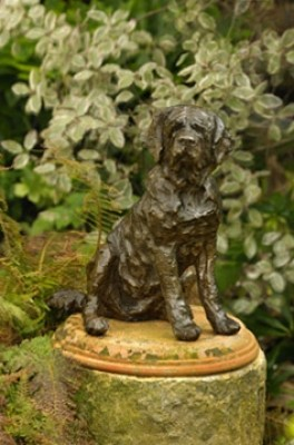 """Maurice"" St. Bernard, Bronze resin, 14 x 10 x 11 inches"