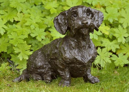 """Brillo"" Wirehaired Dachshund, Bronze resin, 11 x 15 x 6 inches"