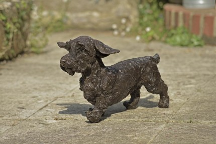 """Lucy"" Wirehaired Dachshund, Bronze resin, 11 x 20 x 9 inches"